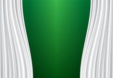 Tela blanca de la cortina en vector verde en blanco de la pared Imagenes de archivo
