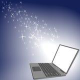 Tela brilhante do computador portátil do brilho da faísca ilustração stock