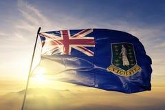 Tela britânica BRITÂNICA de pano de matéria têxtil da bandeira nacional de Ilhas Virgens que acena na parte superior ilustração royalty free