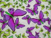 Tela colorida con las mariposas pintadas imágenes de archivo libres de regalías