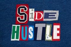 Tela colorida da colagem LATERAL da palavra do texto da CONVICÇÃO na sarja de Nimes, empresário imagens de stock