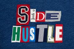 Tela colorida de la PRISA del texto del collage LATERAL de la palabra en el dril de algodón, empresario imagenes de archivo