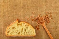 Tela con la fetta di pane e di grani maturi Immagini Stock Libere da Diritti