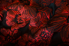 Tela cubierta del telar jacquar del matelasse con el estampado de flores en rojo y negro imagenes de archivo