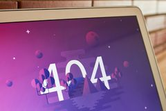 tela da imagem de 404 erros imagens de stock