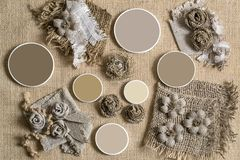 Tela da imballaggio, elementi decorativi e campioni di colore Fotografia Stock Libera da Diritti