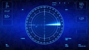 Tela da sonar para submarinos e navios Sonar do radar com objeto no mapa Monitor futurista de HUD Navigation