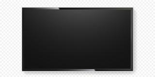 A tela da tevê do LCD isolou o vidro transparente do painel da televisão do preto liso do vetor do fundo Foto de Stock Royalty Free