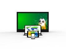 Tela da tevê, nootebook, tabuleta, smartphone com conceito do futebol ilustração stock