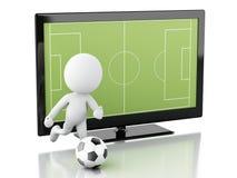 tela da tevê 3d com campo e bola de futebol Fotos de Stock Royalty Free