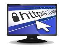 Tela de computador com a barra do endereço do web browser ilustração royalty free