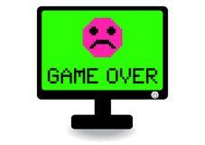 Tela de computador com jogo sobre o ícone Fotografia de Stock