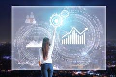 Tela de controlo do negócio da mulher de negócios Imagens de Stock
