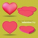Tela de cuero de la forma del corazón para el elemento de la tarjeta del día de San Valentín Imagen de archivo
