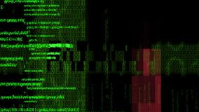 Tela de Digitas com código binário video estoque