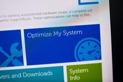 Tela de Digitas com hardware do software da assistência do apoio Imagem de Stock
