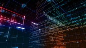 Tela de Digitas dos dados do computador de relação da tecnologia video estoque