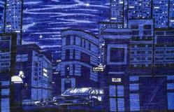 Tela de la impresión de la ciudad Imagenes de archivo