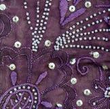 Tela de la sari del vintage con adornos fotos de archivo libres de regalías