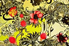 Tela de la textura de la flor retra Imagen de archivo