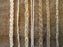 Tela de lino con las cuerdas Imagen de archivo libre de regalías
