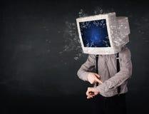 A tela de monitor do computador que explode no jovens dirige Fotos de Stock Royalty Free