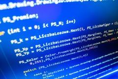 Tela de programação do código fonte da codificação Fotos de Stock