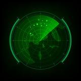 Tela de radar com interface de utilizador futurista e o mundo digital miliampère ilustração do vetor
