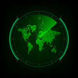 Tela de radar com interface de utilizador futurista e o mundo digital miliampère ilustração stock
