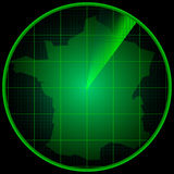 Tela de radar com a silhueta de França Imagem de Stock