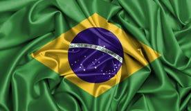 Tela de satén de la bandera del Brasil Imágenes de archivo libres de regalías