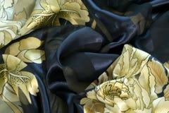 Tela de seda, teste padrão de matéria têxtil Fotos de Stock