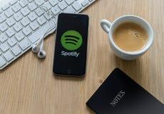 Tela de Spotify Imagens de Stock