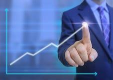 Tela de toque do homem de negócio Imagens de Stock Royalty Free