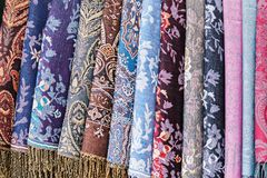 Tela decorativa como o fundo colorido de matéria têxtil Fotografia de Stock