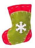 Tela del calcetín de la Navidad con la decoración del copo de nieve Fotos de archivo libres de regalías