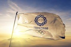 Tela del paño de la materia textil de la bandera del logotipo de las Olimpiadas de Tokio 2020 que agita en la niebla superior de  ilustración del vector