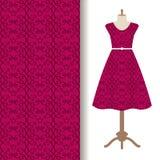 Tela del vestido con el modelo real rosado ilustración del vector