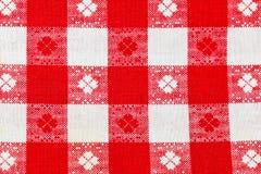 Tela di canapa checkered rossa come priorità bassa Fotografia Stock Libera da Diritti