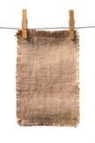 Tela di canapa della tela da imballaggio con l'attaccatura lacerata dei bordi Immagine Stock Libera da Diritti