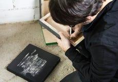 Tela di firma dell'olio dell'artista del pittore fotografia stock libera da diritti
