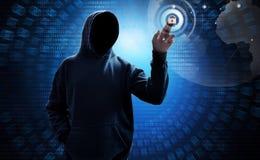 Tela digital do toque encapuçado do hacker de computador foto de stock royalty free