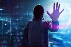 Tela digital do toque do hacker de computador fotografia de stock