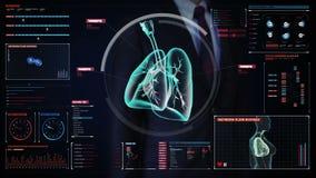 Tela digital tocante do homem de negócios, pulmões humanos de giro, diagnósticos pulmonars Imagem do raio X Tecnologia médica ilustração royalty free