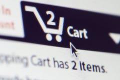 Tela do carrinho de compras Fotografia de Stock