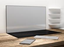 Tela do desktop do laptop do caderno com telefone celular e Ta Fotografia de Stock