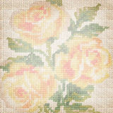 Tela do fundo com as rosas bordadas Fotografia de Stock Royalty Free