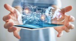 A tela do holograma com os dados digitais usados pelo homem de negócios 3D rende Imagem de Stock