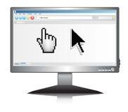 Tela do Lcd com navegador de Internet com ponteiro ilustração stock