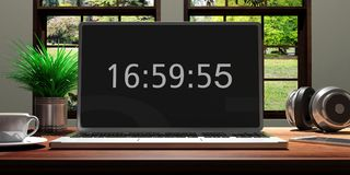 Tela do portátil na tarde digital onscreen, do tempo do escritório domiciliário ilustração 3d Imagens de Stock
